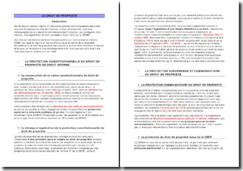 le droit de propriété: dissertation et étude de cas