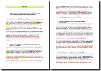 dissertation: les AAI (Autorités Administratives Indépendantes)