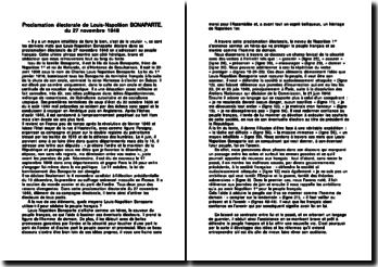 Proclamation électorale de Louis-Napoléon BONAPARTE, du 27 novembre 1848