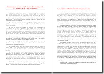 Commentaire de l'arrêt du 8 février 2006 rendu par la 3ème chambre de la Cour de cassation