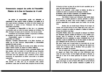 Commentaire comparé des arrêts de l'Assemblée Plénière de la Cour de Cassation du 14 avril 2006