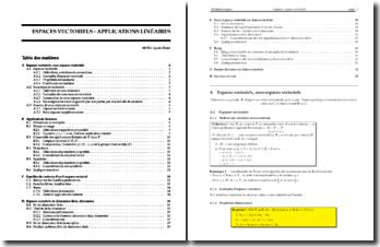 Espaces Vectoriels - Applications linéaires