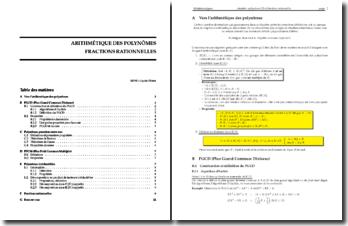 Arithmetique des Polynomes - Fractions Rationnelles
