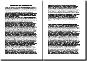 Jean Bodin, Les six Livres de la République (1576) commentaire