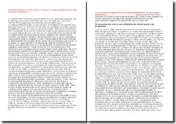 Commentaire de la loi du 19 mai 1998 sur la responsabilité du fait des produits défectueux