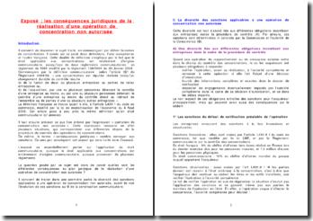 Les sanctions du non respect des règles applicables aux concentrations