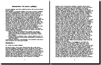 Introduction à la science politique - de la génèse de l'État aux règles du jeu politique