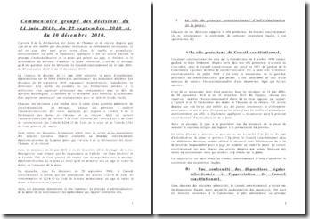 Commentaire groupé des décisions du 11 juin 2010, 29 septembre 2010 et 10 décembre 2010