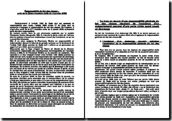 Responsabilité du fait des choses, arrêt de la 2ème chambre civile du 4 janvier 2006