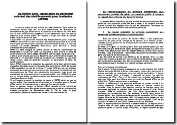 22 février 2007, Association du personnel relevant des établissements pour inadaptés (APREI)