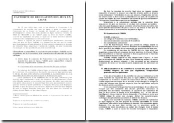 L'Autorité de Régulation des Jeux en ligne (l'ARJEL)