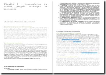 SES - fiche de révision : Accumulation du capital, progrès technique et croissance