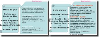 Exemple des menus et des cartes restaurants avec leurs explication