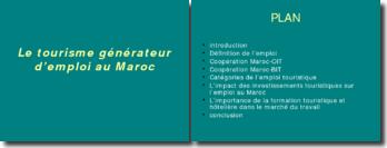 Le tourisme générateur d'emploi au Maroc