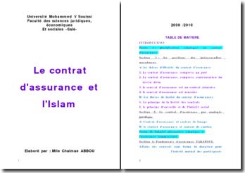 le contrat d'assurance et l'Islam