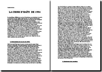 analyse de la crise d'Haïti de 1994
