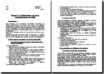 L'élaboration du texte constitutionnel de 1958
