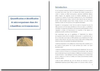 Quantification et identification de microorganismes dans des échantillons environnementaux