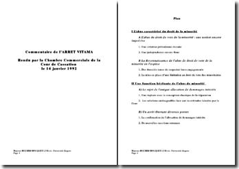 Commentaire de l'ARRET VITAMA, Chambre commerciale Cour de Cassation 14 janvier 1992