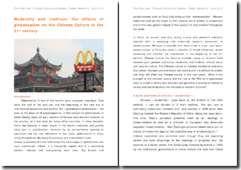 Modernity and tradition: the effects of globalization on the Chinese Culture in the 21st century