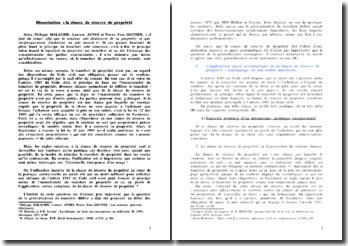 Dissertation : La clause de réserve de propriété