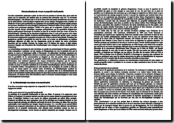 Marchandisation du vivant et propriété intellectuelle.