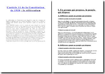 L'article 11 de la Constitution de 1958 : le référendum