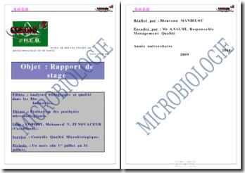 Evaluation des pratiques microbiologiques à COBOMI(Compagnie de boissons marocaines et internationales)