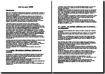 Exposé EPS sur l'athlétisme oral concours CRPE épreuved'admissibilité.