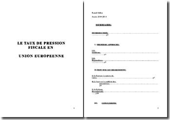 LE TAUX DE PRESSION FISCALE EN UNION EUROPEENNE: