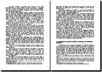Dissertation liberté religieuse et ordre public