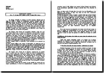 Commentaire d'arrêt comparé 28 juin 2005