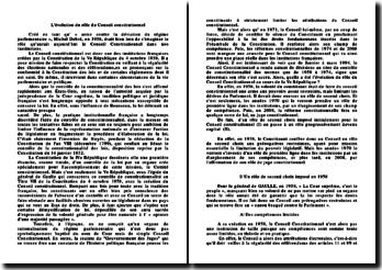 Evolution du rôle du Conseil Constitutionnel de compétences limitées à la consécration