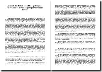La mort de Louis XVI et ses effets politiques