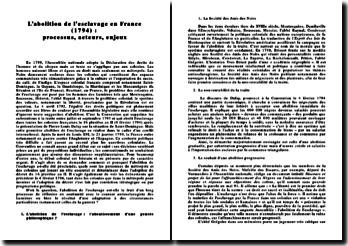 L'abolition de l'esclavage en France en 1794