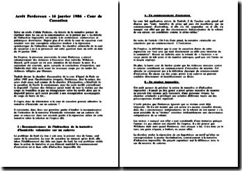 Arrêt Perdereau - 16 janvier 1986 - Cassation