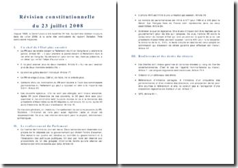 La révision constitutionnelle de 2008
