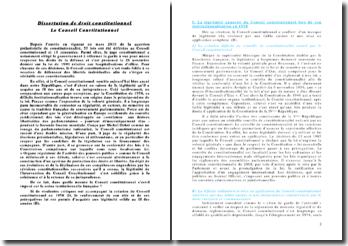 Le conseil constitutionnel - Présentation/analyses