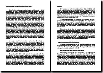 Commentaire d'arrêt Civile 1ère 7 novembre 2000