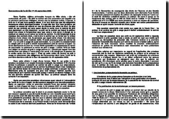 Commentaire d'arrêt Civile 1ère 24 septembre 2009