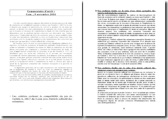 Intérêt collectif des créanciers-com,9 nov 2004