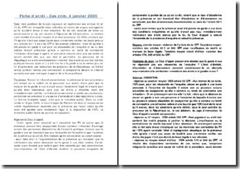 Fiche d'arrêt - Cas crim. 4 janvier 2005