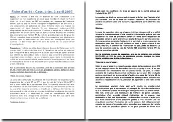 Fiche d'arrêt - Cass. crim. 3 avril 2007