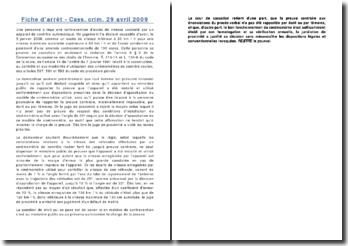 Fiche d'arrêt - Cass. crim. 29 avril 2009