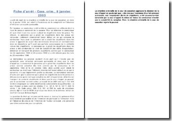 Fiche d'arrêt - Cass. crim., 8 janvier 2003
