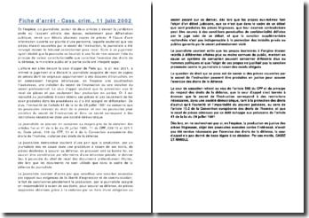 Fiche d'arrêt - Cass. crim., 11 juin 2002