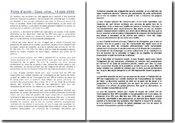 Fiche d'arrêt - Cass. crim., 15 juin 2000