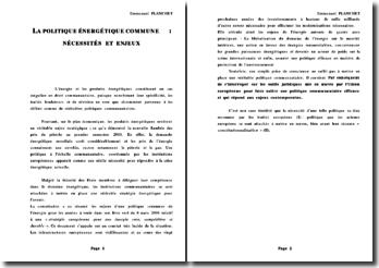 dissertation politique commune de l'énergie