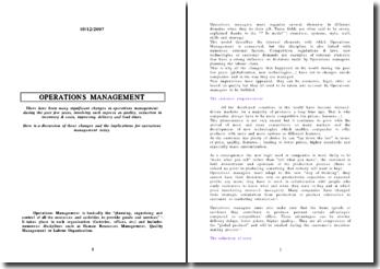 New tendancies in operations management