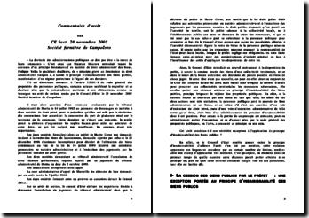 CE 18 novembre 2005, Société Fermière de Campoloro